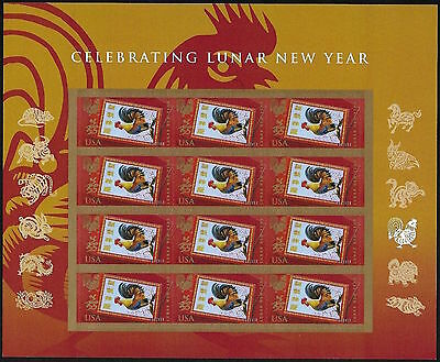 2017 Celebrating Lunar New YEAR OF THE ROOSTER Mint Sheet 12 Forever Stamps 5154