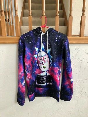 Rick and Morty Purple Galaxy Print Hoodie - Size Small