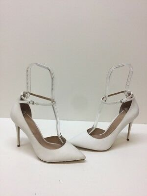ALDO 'Staycey' White Leather Pointy Toe Ankle Strap High Heels Women's Size 9