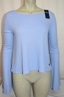 HOLLISTER Co- PERIWINKLE BLUE Cut-Out Bell Sleeve Ribbed SHIRT Medium NWT
