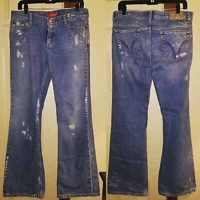 Hollister Co Womens Bootcut Flare Jeans Size 11 REG Button Fly RipsDestroyed