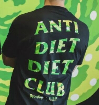 Rick and Morty Character  Anti Diet Club Graphic Black T Shirt Adult Swim Large