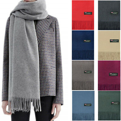 Mens Womens Oversize 100 Cashmere Scotland Wool Blanket Shawl Wrap Solid Scarf