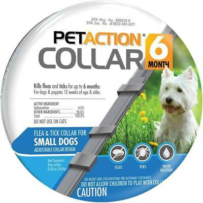 PetAction Dog Collar Adjustable Kills FleasTicks 6 Months Small Dogs PET ACTION