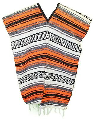 Traditional Mexican Poncho - ORANGE - ONE SIZE FITS ALL Blanket Serape Gaban