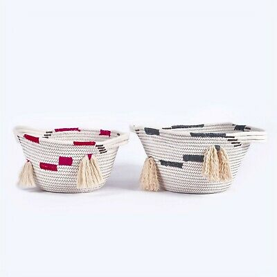 Woven 100 Cotton Rope Storage Baskets with Handles Set of 2