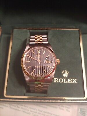Rolex Datejust 18K Gold Stainless Steel Watch Mens Oyster Jubilee Serviced 119