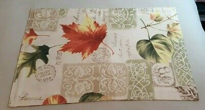 Fall Leaves Autumn Thanksgiving Large Placemats Set of 4 Reversible EUC
