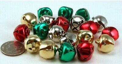 Lot of 200  38 Inch or 9-5 mm Silver Gold Red Green Mix Craft Jingle Bells