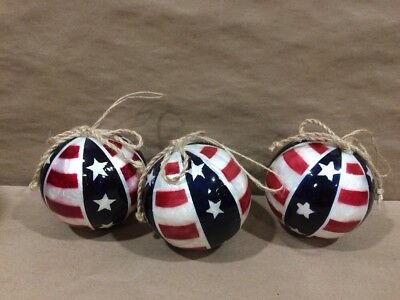 3 Large Patriotic Ball Flag Americana Ornaments CHristmas Memorial 4th of July