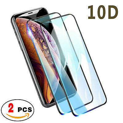 2pc Full Coverage Tempered Glass Screen Protector For iPhone 11 Pro Max X SE 2nd