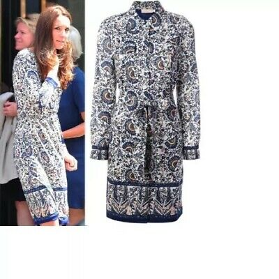 Tory Burch Dress L Chrissy Blue Madura Kate Middleton Floral Fan Abstract Shift