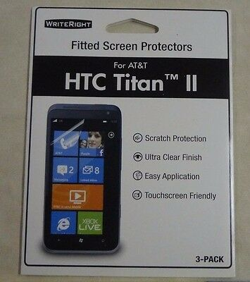 Writeright HTC Titan II AT-T cell phone fitted screen protectors