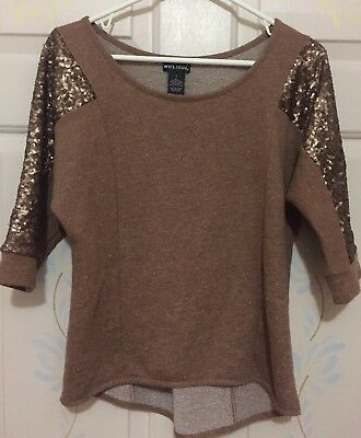Wet Seal Brown 34 Sequined Sleeve Top Size Small S