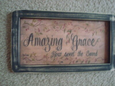 Primitive Country Print AMAZING GRACE 10 12 x 6