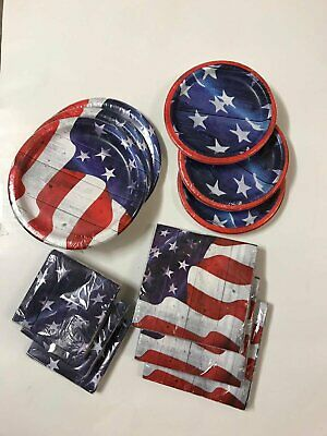 Fourth Of July Party LOT Large and Small Plates and Napkins Patriotic USA 3 Pk