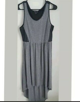 Woman's Junior's Wet Seal Gray And Black Dress Leather Back size Large