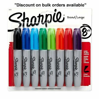 Sharpie Permanent Markers Broad Large Chisel Tip Assorted Colors 8-Count 38250