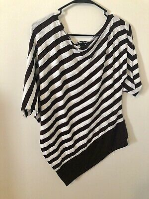 Wet Seal Off One Shoulder Brown And White Shirt Size XLarge