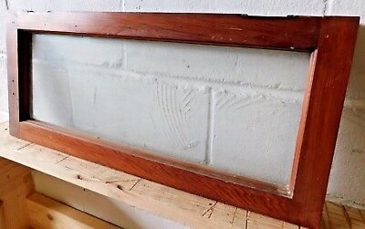 1890s Antique TRANSOM WINDOW Frame - Glass VICTORIAN Style Fir ORIGINAL