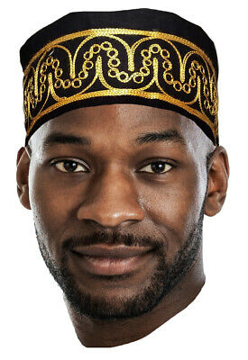Dupsies Adebo African Black Kufi Hat with Gold Embroidery