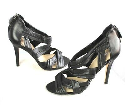 ALDO Black Leather Woven Strap Zip Stiletto High Heels Shoes Womens 7