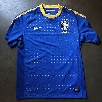 Mens Nike Brazil National Team World Cup Olympic Blue Yellow Home Jersey Sz M