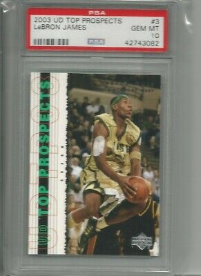 2003 upper deck top prospects lebron james shooting psa 10 rookie