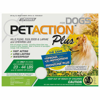 PetAction Plus Flea - Tick Drops for Medium Dogs 23-44 lbs 3 DOSES Pet Action