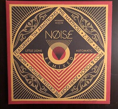 Noise Remixed  GAT 45 2 Vinyl LP  Signed Shepard Fairey  and art by Ravi Zupa