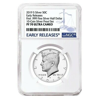 2019 S Proof Silver Kennedy Half Dollar First -999 Fine Silver NGC PF 70 ER