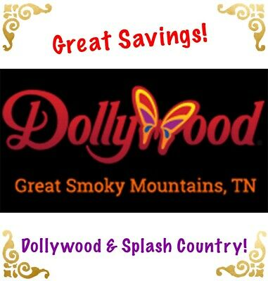 DOLLYWOOD OR SPLASH COUNTRY THEME PARK TICKETS PROMO SAVINGS DISCOUNT 1 OR 3 DAY
