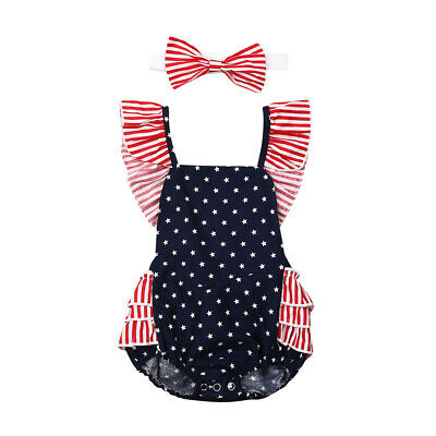 4th of July Newborn Baby Girls My 1st Independence Romper Headband Outfits 0-12M
