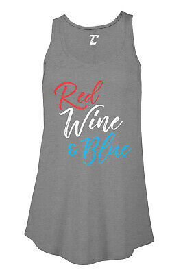 Red Wine - Blue - 4th of July Fireworks Patriotic Party Womens Flowy Tank