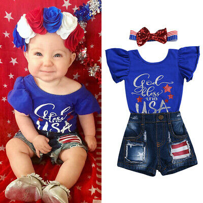 2019 My First 4th of July Newborn Baby Girl Outfits Romper Short Jeans Clothes