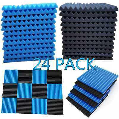 24 Pack Acoustic Foam Panel Wedge Studio Soundproofing Wall Tiles 1 X 12 X 12