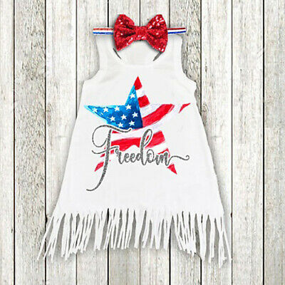 Fourth of July Baby Girls Summer Independence Day Sleeveless Tassel Dress 2019