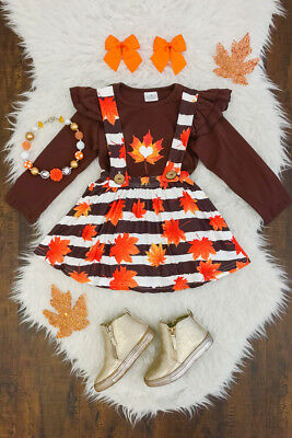 Thanksgiving Kids Baby Girl Maple Leaf Outfits Clothes T-shirt Skirt 3PCS Set US