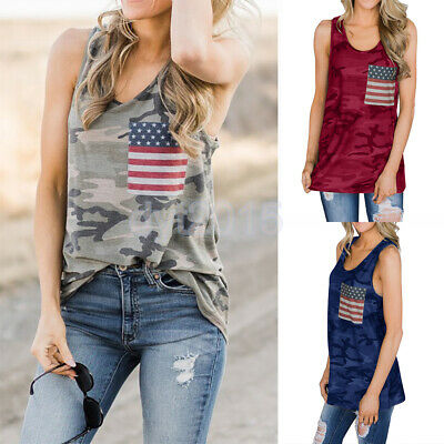 Womens Racer Back Camouflage Tank Tops 4th of July US Flag Print Tee Vest Shirt