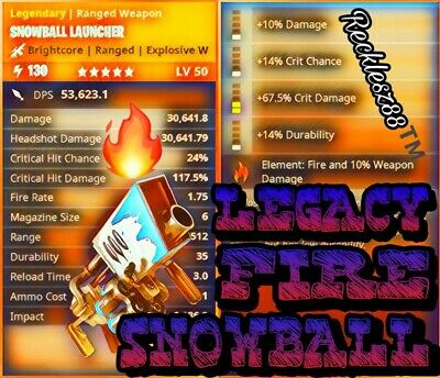 LEGACY 130 🔥 FIRE 🔥 SNOWBALL LAUNCHER ❄️ - Fortnite Save The World