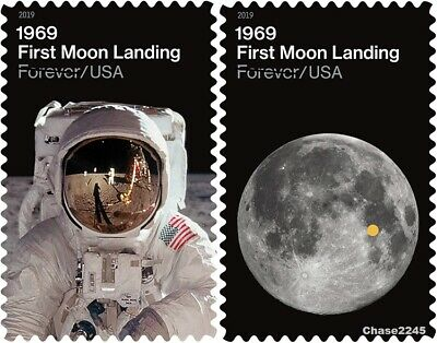 NEW 2019 First Moon Landing Singles Set of 2 MNH -Pre-order after 719