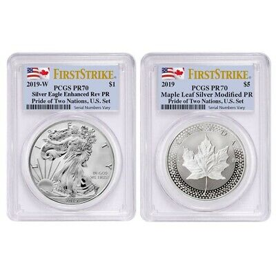 2019 Pride of Two Nations 2-Coin Set PCGS PF 70 FS Two Flags Label