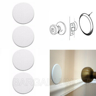 4 Pack Door Knob Self Adhesive Protector 3 Drywall Wall Shield Round White BU04