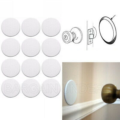 12 Pack Door Knob Self Adhesive Protector 3 Drywall Wall Shield Round White BU