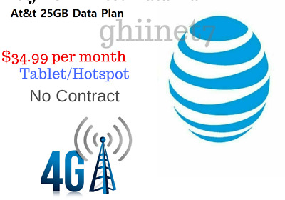 UNTHROTTLED 25GB At-t Data Plan 34-99 per Month No Contract Hotspot