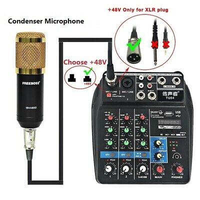 4 Channels Stage Music Sound Mixing Console Bluetooth Record Audio Mixer APP 48V