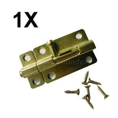 1 PC Door Slide Catch Lock Bolt Latch Barrel Home Gate Safety Brass W Screws BU1