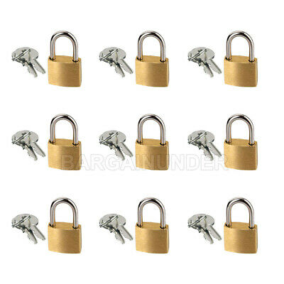 9 PC Small Metal Padlocks 20mm Mini Brass Locks Jewelry Safe Box W 2 Keys BU-009