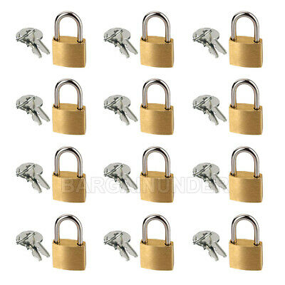 12 PC Small Metal Padlocks 20mm Mini Brass Locks Jewelry Safe Box W 2 Keys BU-12