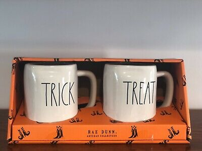 Rae Dunn Halloween Collection By Magenta LL TRICK TREAT Coffee Mug Set of 2